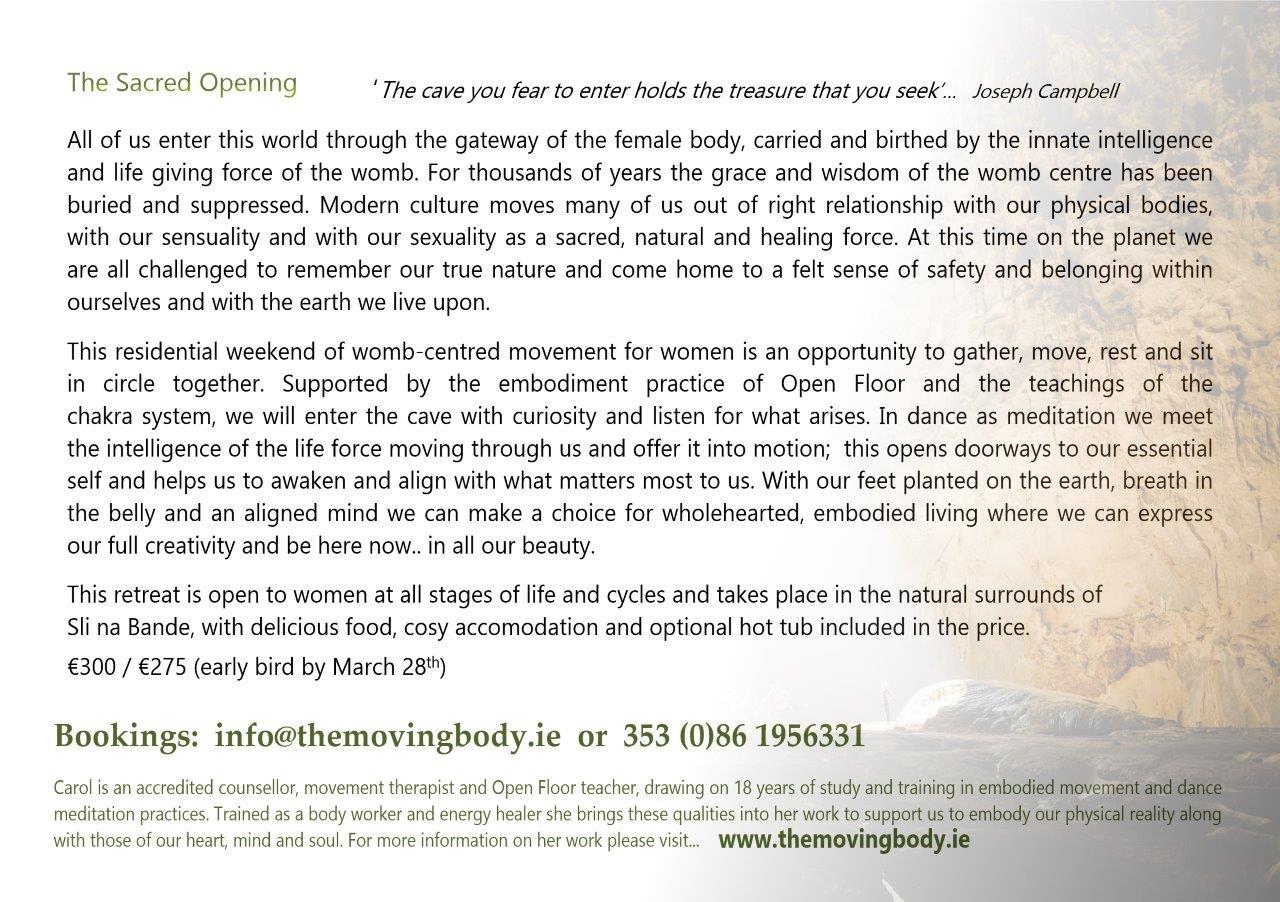 Slí na Bandé: The Sacred Opening Workshop with Carol McInerney – 26